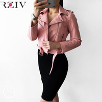 Wholesale Womens Jackets Leather - Wholesale- RZIV 2017 spring jacket women casual candy color leather jacket long sleeve women coat lacing womens clothing