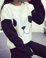Wholesale Long Sleeves Panda Outwear - Hot Sale Kawaii Harajuku Sweatshirt Women Cartoon Panda Printed O-neck Long Sleeve Loose Fashion Causal Outwear 2017 New Hoodies
