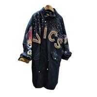 Wholesale Korea Fashion Style Coat Woman - Wholesale- 2016 female Korea bf style diamond letter embroidery rivet tooling drawstring waist loose collar long coat jacket coat w1057