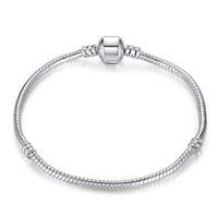 ingrosso perline per il commercio all'ingrosso di monili-Mescoli il retro braccialetto d'argento 925 di dimensione con le catene del serpente di LOGO 17CM-21CM degli accessori dei gioielli di DIY misura le perle di stile europeo all'ingrosso