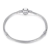 925 silber armband mischung großhandel-Mix Größe Retro 925 Silber Armband mit LOGO 17CM-21CM Schlangenketten DIY Schmuck Zubehör passen europäischen Stil Perlen Großhandel