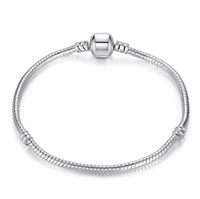 fancy link kette großhandel-Mix Größe Retro 925 Silber Armband mit LOGO 17CM-21CM Schlangenketten DIY Schmuck Zubehör passen europäischen Stil Perlen Großhandel