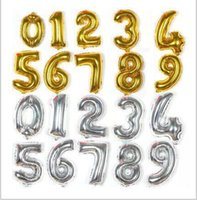 Wholesale Cheap Party Inflatables - Cheap Gold Silver 16inch Alphabet Heelium Inflatable Aluminum Foil Balloons Birthday Wedding Party Decoration Christmas Numbers 0-9