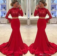 Wholesale fabulous evening gowns - Fabulous Red Two Pieces Prom Dresses 2018 Mermaid Lace Cheap Formal Evening Gowns High Neck Long Sleeves Robe de soriee