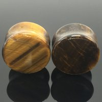 Wholesale Ear Plug Gem - 6mm-16mm Hypoallergenic natural Tiger eye gem stone piercing jewelry ear Expander solid ear drum expansion stretcher body jewelry septum