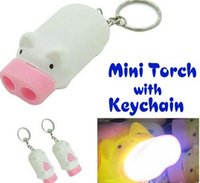 Wholesale Led Mini Pig Keychain Flashlight - Mini Pig Torch Flashlight Key Chain Cute Pig 2 LED Keychain Light Keyring Novelty Cute Cartoon Pig Flashlight Light Keychains