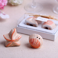 Wholesale Starfish Salt Pepper Shakers - Ceramic Beach Style Seashell and Starfish Salt and Pepper Shakers Wedding Favors Gifts 100SETS 200PCS LOT