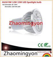 Wholesale E27 Natural White - 1pcs Super Bright 9W 12W 15W GU10 E14 E27 LED Bulb 110V 220V Dimmable Led Spotlights Warm Natural Cool White GU 10 LED lamp