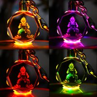 Wholesale Girls Dragon Jewelry - Dragon Ball Keychain Sun Wukong Son Gohan Anime Action Figure Toys LED Light Key Chains Ring Fashion Jewelry Bag Hangs