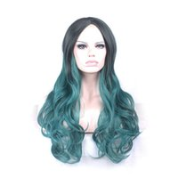 Wholesale Green Wavy Long Synthetic Wig - Women green black wig purple cosplay heat resistant high temperature fiber long wavy hair synthetic wigs
