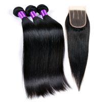 Wholesale Malaysian 3pcs Closure - Brazillian Straight Hair With Closure 3Pcs Mink Brazilian Straight With Closure 7A Brazilian Human Straight Hair With Closure1B