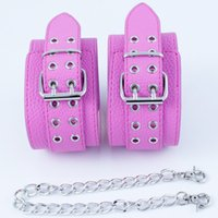 Wholesale Pink Hand Cuffs - Pink PU Leather Handcuffs Fetish Bondage Restraints Wrist Hand Cuffs BDSM Sex Toys for Couples Adult Games Sex Products