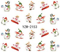 Wholesale Christmas Nail Stickers Foil - Can Mix design Water Transfer Christmas Designs Nail Art Sticker Decal Foil Adhesive Manicure Tips Nail Decoration Makeup Tools