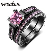 conjuntos de anillo de diamante negro vintage al por mayor-Vecalon Vintage Wedding Band Ring Set para mujer Pink zafiro simulado diamond Cz 14KT Gold Gold Filled Female Engagement ring