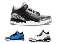 Wholesale Cheap Band Shoes - Cheap sports shoes men basketball shoes sneaker for sale 3s athletic sneaker hot sell women Wolf Grey Retro Black white Grey