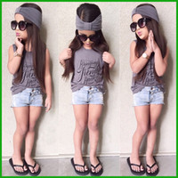 Wholesale Jeans Outfits Children - 2016 fashion newest summer sports casual baby girls outfits three-picecs children sleeveless t-shirt letter grey color short jeans