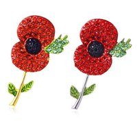 Wholesale Red Poppy Brooch - Fashion Jewelry Gold and Silver Plated Tone Rhinestone Crystal Red Poppy Brooch Pin UK Remebrance Day Gift DHL free shipping
