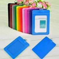 Wholesale Credit Card Holder Lanyard - 10Pcs PU Leather School Office Business Vertical ID Badge Card Holder With Lanyard ID Badge Credit Double Slot Papelaria