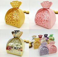 Wholesale diamond candy favor boxes - 100pcs Laser Cut Hollow Flower Diamonds Candy Box Chocolates Boxes For Wedding Party Baby Shower Favor Gift