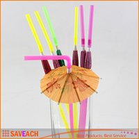 Wholesale drinks umbrellas resale online - Umbrella drinking straws parasol cocktail paper straws Party Bar Decoration Christmas holiday party supplies