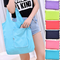 Wholesale shopping for beds online - Waterproof Zipper Handbags Fashion Folding Shopping Bag For Women Single Shoulder Pocket Outdoors Storage Articles Multicolor wb C R