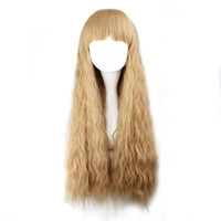 Wholesale light blonde curly wig cosplay - 70cm Long Curly Light Brown Synthetic Corn rolls Cosplay Wig 100% High Temperature Fiber Hair