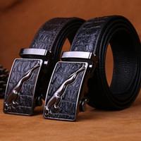 Wholesale Black Jaguars - 2017 automatic buckle designer men's belt crocodile pattern Jaguar high-quality alloy buckle belt men's luxury belt
