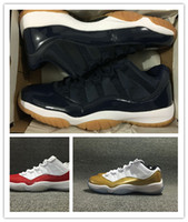 Wholesale Boys Size Easter - 2016 BRAND air retro 11 low Metallic Gold men basketball shoes boy retro 11s Low Varsity Red navy gum size 41-47 wholesale