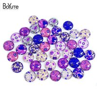 Wholesale Cabochon Images 14mm - BoYuTe 40Pcs Flower Cabochon 14MM Round Mix Image Cabochon Glass Diy Jewelry Findings Earrings Blank Cover XL5765