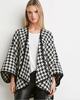 Sexy Plus Größe Strickjacke Wollmantel Frauen Flügelhülse Plaid Cape Poncho Pullover Mantel Asymmetrische Wollmantel Outwear Winter Mantel