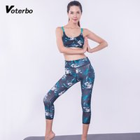 Venta Al Por Mayor Sujetador Sexy Pantalones Baratos-Al por mayor- Voterbo 2Pcs Impreso Running Suits Fitness Gym Workout Bra 3/4 Leggings Sexy Strappy Bra pantalones de cintura alta Transpirable sin costuras