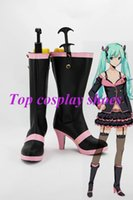 Wholesale Pink Miku - Wholesale-Freeshipping Vocaloid Hatsune Miku Pink and Black High Heel Cosplay Boots shoes custom-made for Halloween Christmas festival