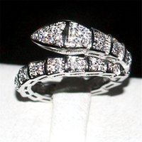 Wholesale 10kt gold jewelry - Brand Snake Ring Fashion KT white gold filled Pave setting Full diamond cz rings Wedding Bride jewelry Band for Women Size