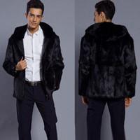 Wholesale Formal Overcoats - Winter Hooded Zip Jacket Men's Black Faux Fur Casual Hoodies Jacket Fashion Business Formal Suit Coat Warm Overcoats