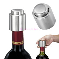 Wholesale Press Caps - HOT SELLING Stainless Steel Vacuum Sealed Red Wine Storage Bottle Stopper Plug Bottle Cap Pressing type red wine Stopper
