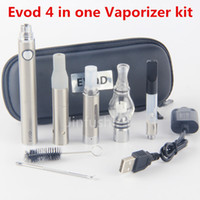 Wholesale Electronic Ecigarette Kit - Hot New 4 in 1 evod Starter ecig Kit battery dry herb vape vapor wax vaporizer ecigarette pens pen rda atomizers electronic cigarette
