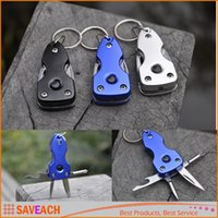 Wholesale Hot sale in mini Key Ring Multi tool Pocket Folding Knife outdoor camping Survival tools with Led Light screwdriver