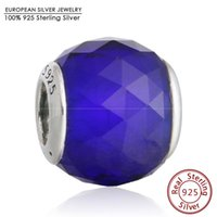 Wholesale Blue Facet Crystals - Blue Crystal CZ Geometric Facets Charm Beads 925 Sterling Silver Big Stone Faceted Bead Diy Winter Brand Bracelets Fine Jewelry