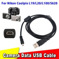 Wholesale Usb E6 - Wholesale-High Speed 59 inch 1.5M 8Pin Usb Data Cable Camera To Pc Data Transfer For Nikon For Coolpix L19 L20 L100 S620 UC-E6 For FinePix