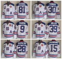patrick kane usa olympic jersey al por mayor-2010 Equipo EE. UU. Hockey Jersey Hielo OLÍMPICO Azul 9 Zach Parise 88 Patrick Kane 81 Phil Kessel 28 Brian Rafalski 39 Miller 15 Langenbrunner