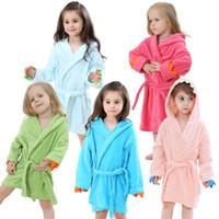 Wholesale Cartoon Girls Beautiful Clothes - Hooded Bathrobe 5 Colors Cartoon Animal Beautiful Dinosaur Style Baby Cotton Towel Girls Clothing Kids Bathrobe