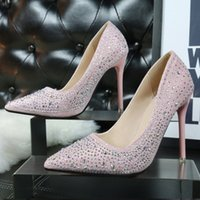 Wholesale Blue Pumps For Cheap - 2016 Cheap Summer Women low cut Pumps Lady rhinestones Silver Black Pink Blue bottom High heel shoes for Female wedding bride dress v shoes