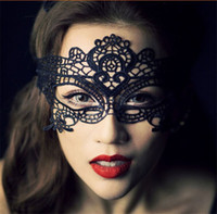 Wholesale Womens Black Mask - Womens Lace Sexy Eye Mask For Halloween Christmas Venetian Masquerade Ball Party Costume Butterfly Fancy Dress Black White Half Face Masks