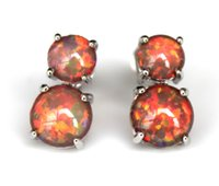 Wholesale Blue Opal Studs - Nice White   Blue   Orange Fire Opal Earring for women