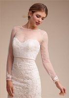 Wholesale Long Black Dress Accessories - New 2018 Long Sleeves Bridal Bolero Jacket Buttons Back Applique Short Tulle Shawl Wrap Wedding Dresses Accessories