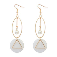 Wholesale Vintage Gold Triangle Stud - Fashion Shell Pearl Quartz Stone Drop Earrings Triangle Circular Long Dangle Earrings For Women Sister Gifts Vintage Ear Jewelry