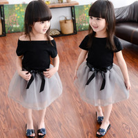 Wholesale Korean Costumes For Kids - Summer Girls Lace TUTU Skirts Sets Clothing Costume Korean Black T Shirts Tops+Gray Bow Skirt 2PCS Outfits For Children Kids Clothes