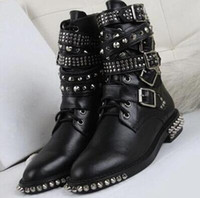 Wholesale Thick High Heels Spikes - women fashion booties spike stud boots black booties tactical boots thick heel point toe motorcycles booties buckle