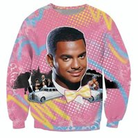 Wholesale Fresh Hoodies - Wholesale-Hip hop 3D hoodies So Fresh Carlton print crewneck sweatshirt Alfonso Ribeiro Fresh Prince Bel Air sweats tops plus size S-3XL