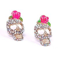 Wholesale Rose Earring Diamond - Thanksgiving Christmas Rose skull earrings diamond earrings fashion jewelry factory price free shipping